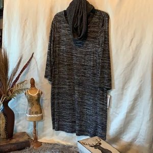 Ladies large black/gray sweater dress with scarf